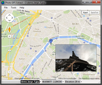 Photo GPS Extract main screen